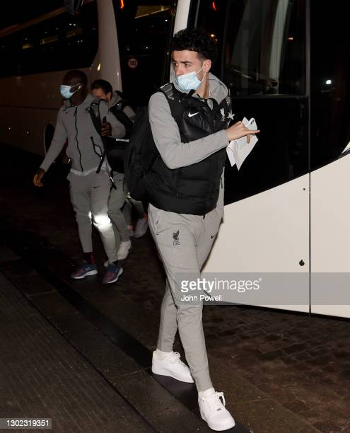 Curtis Jones of Liverpool arriving ahead of the Champions League match between Liverpool and RB Leipzig on February 15, 2021 in Budapest, Hungary.