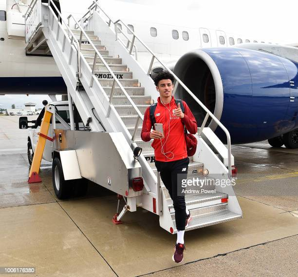 Curtis Jones of Liverpool arriving at Detroit airport for the final leg of the USA tour on July 27 2018 in Detroit Michigan
