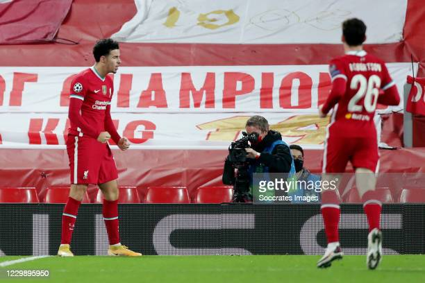 Curtis Jones of Liverpool celebrates 1-0 during the UEFA Champions League match between Liverpool v Ajax at the Anfield on December 1, 2020 in...