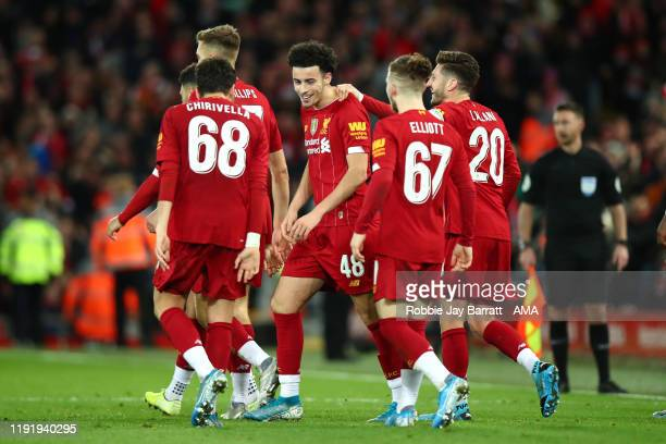 Curtis Jones of Liverpool celebrates after scoring a goal to make it 10 during the FA Cup Third Round match between Liverpool and Everton at Anfield...