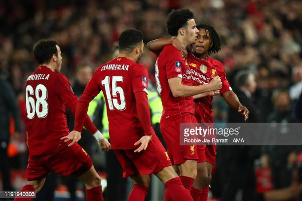Curtis Jones of Liverpool celebrates after scoring a goal to make it 1-0 during the FA Cup Third Round match between Liverpool and Everton at Anfield...