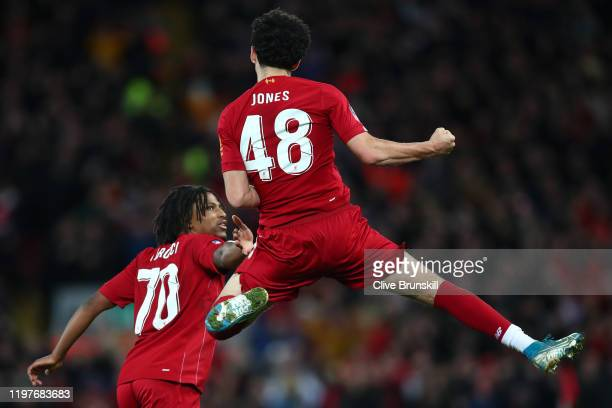 Curtis Jones of Liverpool celebrates after scoring his team's first goal during the FA Cup Third Round match between Liverpool and Everton at Anfield...