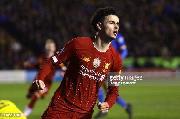 Curtis Jones of Liverpool celebrates after scoring his team's first goal during the FA Cup Fourth Round match between Shrewsbury Town and Liverpool...