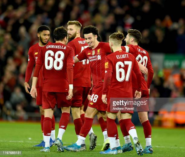 Curtis Jones of Liverpool celebrates after scoring the opening goal during the FA Cup Third Round match between Liverpool FC and Everton at Anfield...