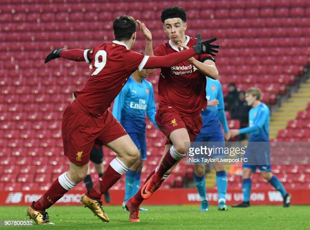 Curtis Jones of Liverpool celebrates his first goal with team mate Liam Millar during the Liverpool v Arsenal FA Youth Cup game at Anfield on January...