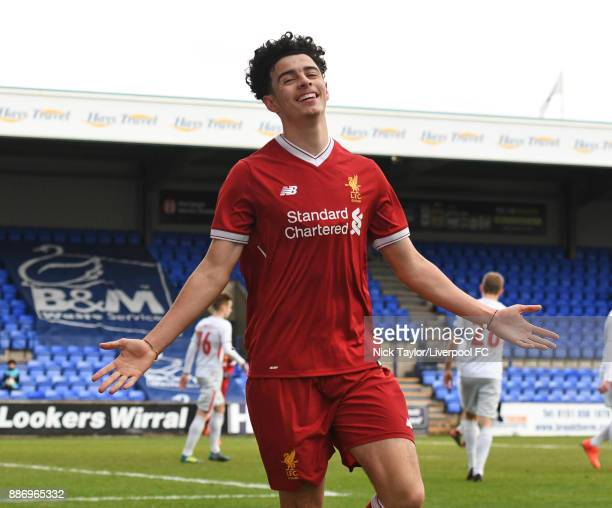 Curtis Jones of Liverpool celebrates his goal during the UEFA Youth League group E match between Liverpool FC and Spartak Moskva at Prenton Park on...