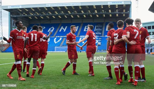 Curtis Jones of Liverpool celebrates his goal with his team mates Rafael Camacho George Johnston Bobby Adekanye Ben Woodburn Herbie Kane Conor...