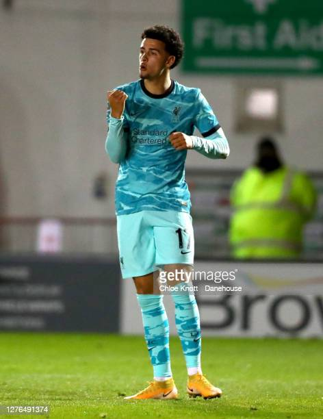 Curtis Jones of Liverpool celebrates scoring his teams third goal during the Caraboa Cup Third Round match between Lincoln City FC and Liverpool FC...