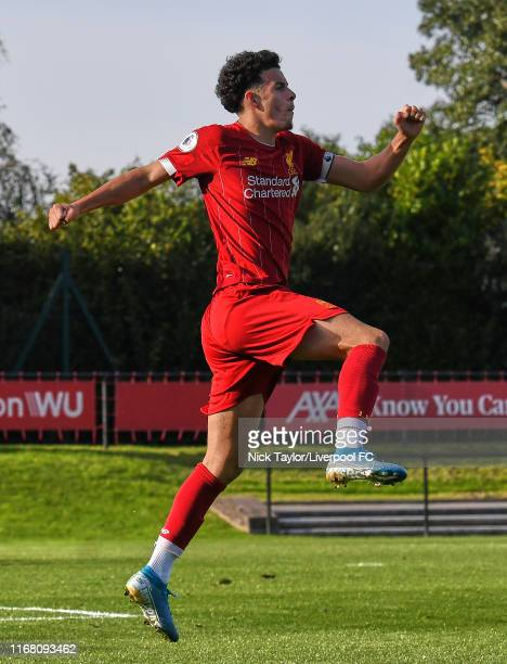 Curtis Jones of Liverpool celebrates scoring Liverpool's third goal during the PL2 game at The Kirkby Academy on September 14, 2019 in Kirkby,...