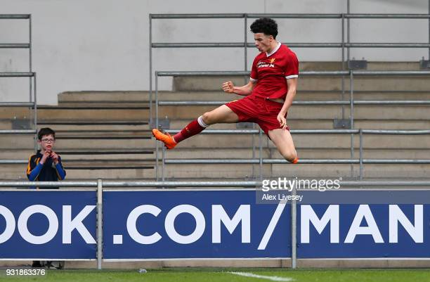 Curtis Jones of Liverpool celebrates scoring the first goal during the UEFA Youth League QuarterFinal between Manchester City and Liverpool at...