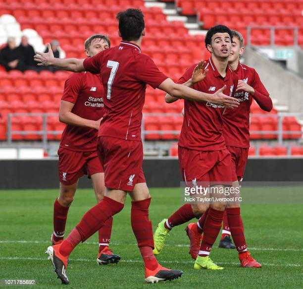 Curtis Jones of Liverpool celebrates scoring with Liam Millar during the UEFA Youth League match between Liverpool and SSC Napoli at Langtree Park on...