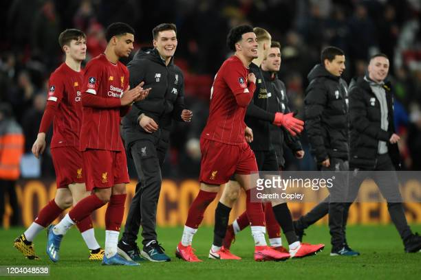 Curtis Jones of Liverpool celebrates victory with his team mates after the FA Cup Fourth Round Replay match between Liverpool FC and Shrewsbury Town...