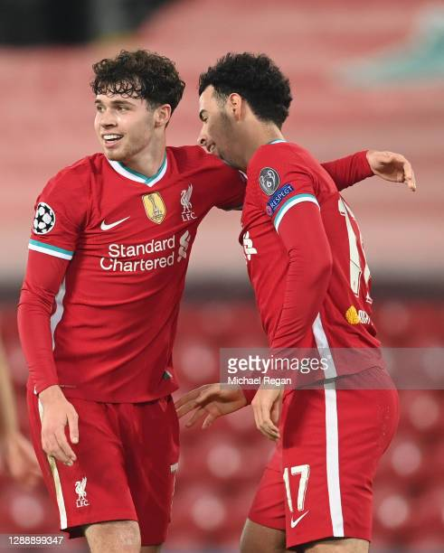 Curtis Jones of Liverpool celebrates with Neco Williams after scoring their team's first goal during the UEFA Champions League Group D stage match...