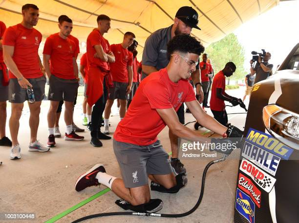 Curtis Jones of Liverpool changing tyres during a tour of Roush Fenway Racing on July 21 2018 in Charlotte North Carolina