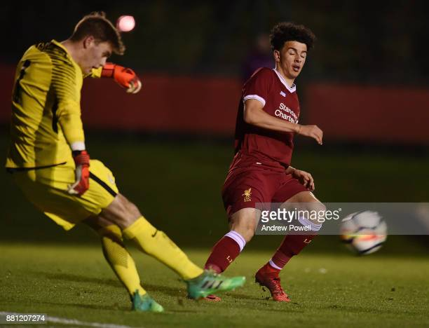 Curtis Jones of Liverpool competes with Curtis Anderson of Manchester City during the U18 Premier League match between Liverpool U18 and Manchester...
