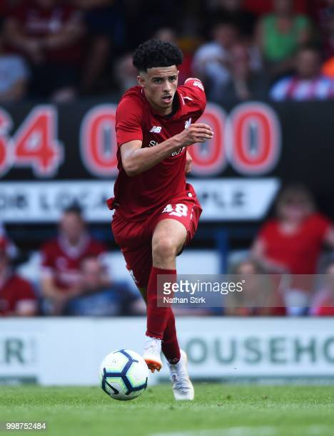 Curtis Jones of Liverpool controls the ball during a preseason friendly match between Bury and Liverpool at Gigg Lane on July 14 2018 in Bury England