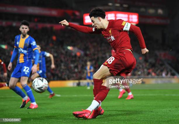 Curtis Jones of Liverpool crosses the ball during the FA Cup Fourth Round Replay match between Liverpool FC and Shrewsbury Town at Anfield on...