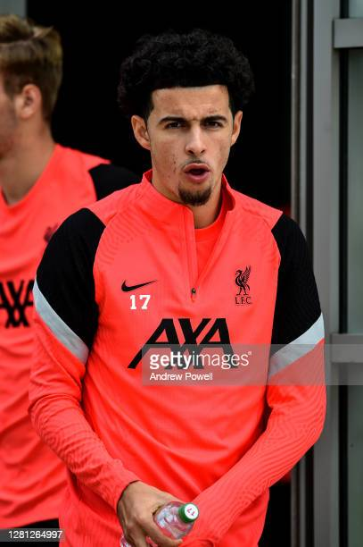 Curtis Jones of Liverpool during a training session ahead of the UEFA Champions League Group D stage match between Liverpool FC and Ajax Amsterdam at...