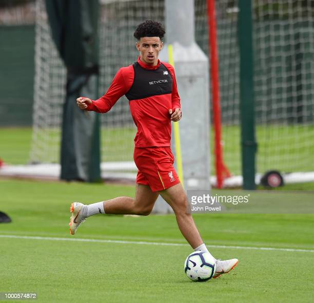 Curtis Jones of Liverpool during a training session at Melwood Training Ground on July 17 2018 in Liverpool England