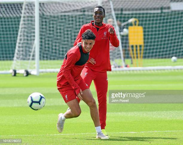 Curtis Jones of Liverpool during a training session at Melwood Training Ground on August 8 2018 in Liverpool England