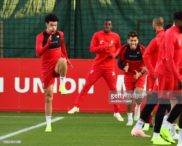 Curtis Jones of Liverpool during a training session at Melwood Training Ground on October 18 2018 in Liverpool England