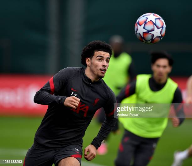 Curtis Jones of Liverpool during a training session at Melwood Training Ground on October 19 2020 in Liverpool England