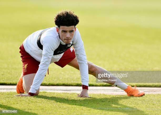 Curtis Jones of Liverpool during a training session at Melwood Training Ground on February 22 2018 in Liverpool England
