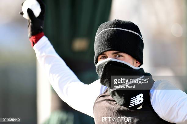 Curtis Jones of Liverpool during a training session at Melwood Training Ground on February 27 2018 in Liverpool England