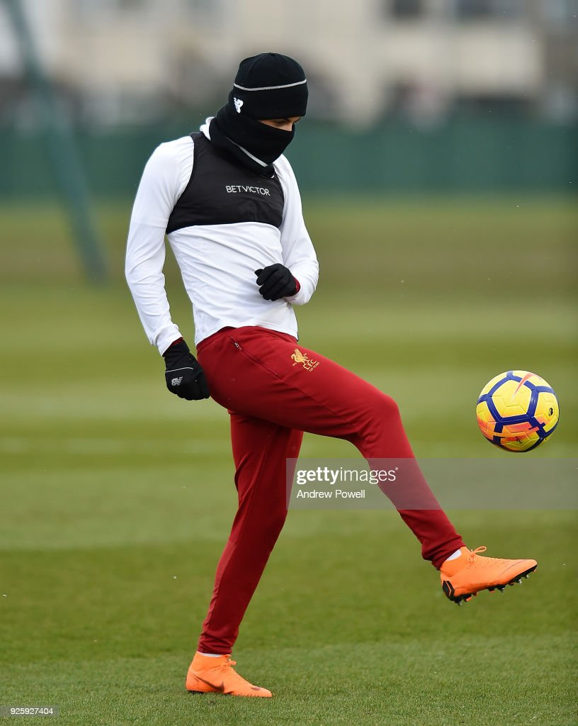 Curtis Jones of Liverpool during a training session at Melwood Training Ground on March 1, 2018 in Liverpool, England.