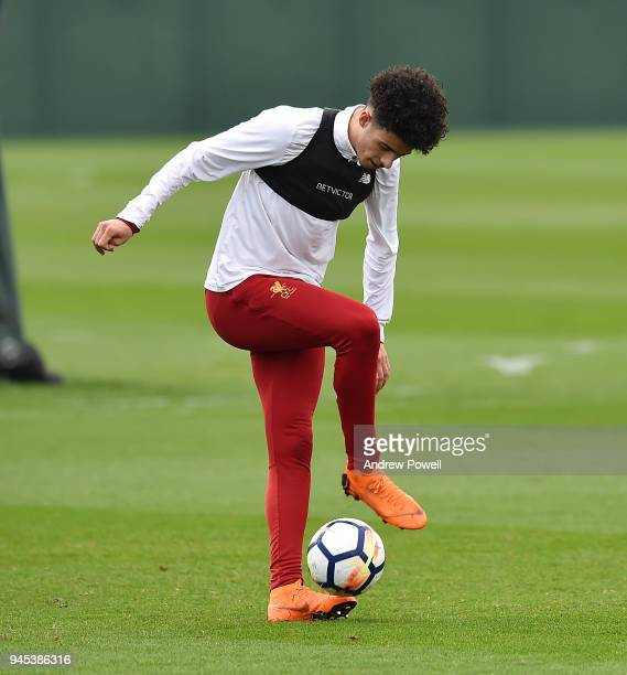 Curtis Jones of Liverpool during a training session at Melwood Training Ground on April 12 2018 in Liverpool England