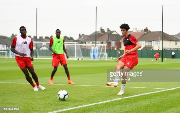 Curtis Jones of Liverpool during a training session at Melwood Training Ground on July 12 2018 in Liverpool England