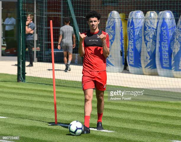 Curtis Jones of Liverpool during a training session on the second day back at Melwood Training Ground for the preseason training on July 3 2018 in...