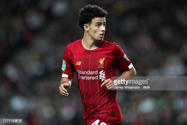 Curtis Jones of Liverpool during the Carabao Cup Third Round match between Milton Keynes Dons and Liverpool at Stadium mk on September 25 2019 in...