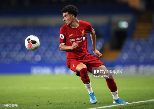 Curtis Jones of Liverpool during the Premier League 2 match between Chelsea and Liverpool at Stamford Bridge on August 19 2019 in London England