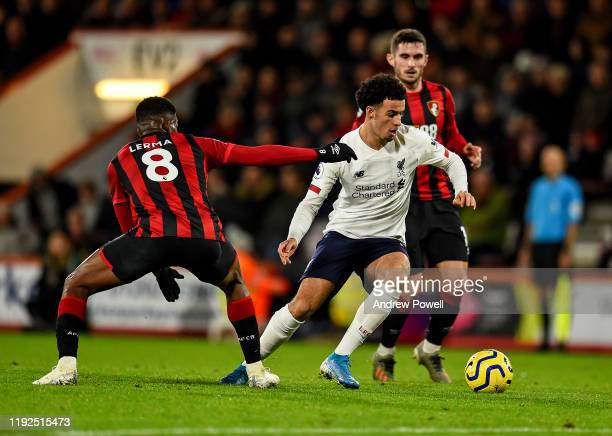 Curtis Jones of Liverpool during the Premier League match between AFC Bournemouth and Liverpool FC at Vitality Stadium on December 07 2019 in...