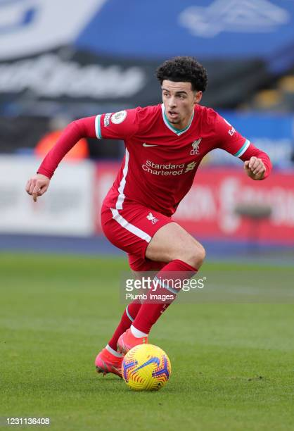 Curtis Jones of Liverpool during the Premier League match between Leicester City and Liverpool at The King Power Stadium on February 13, 2021 in...