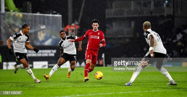 Curtis Jones of Liverpool during the Premier League match between Fulham and Liverpool at Craven Cottage on December 13, 2020 in London, England. A...