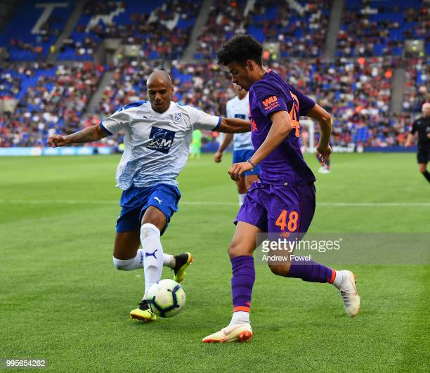 Curtis Jones of Liverpool during the preseason friendly match between Tranmere Rovers and Liverpool at Prenton Park on July 10 2018 in Birkenhead...