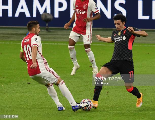 Curtis Jones of Liverpool during the UEFA Champions League Group D stage match between Ajax Amsterdam and Liverpool FC at Johan Cruijff Arena on...