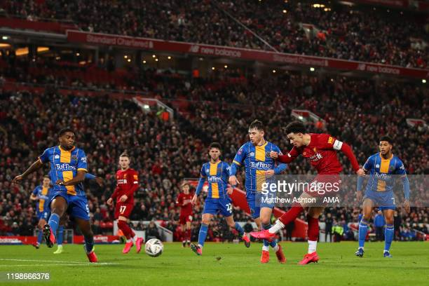 Curtis Jones of Liverpool has a shot at goal during the FA Cup Fourth Round Replay match between Liverpool and Shrewsbury at Anfield on February 4,...