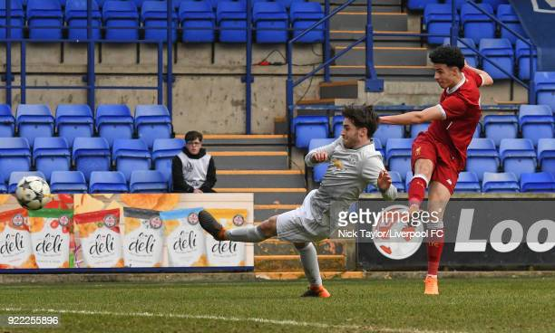 Curtis Jones of Liverpool has a shot on goal during the Liverpool v Manchester United UEFA Youth League game at Prenton Park on February 21 2018 in...