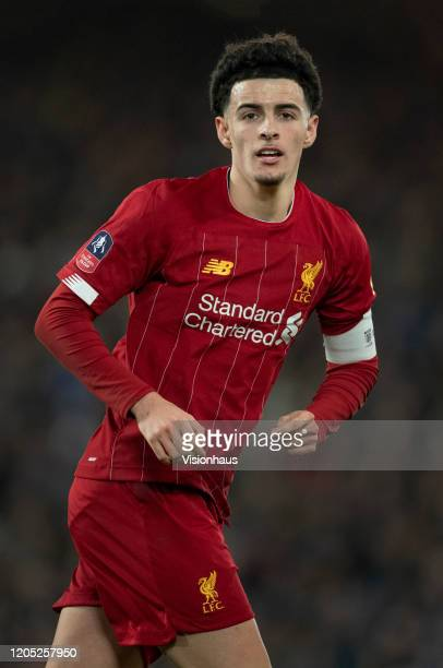 Curtis Jones of Liverpool in action during the FA Cup Fourth Round Replay match between Liverpool and Shrewsbury Town at Anfield on February 4 2020...