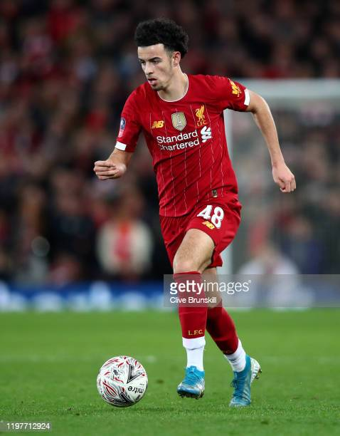 Curtis Jones of Liverpool in action during the FA Cup Third Round match between Liverpool FC and Everton FC at Anfield on January 05 2020 in...