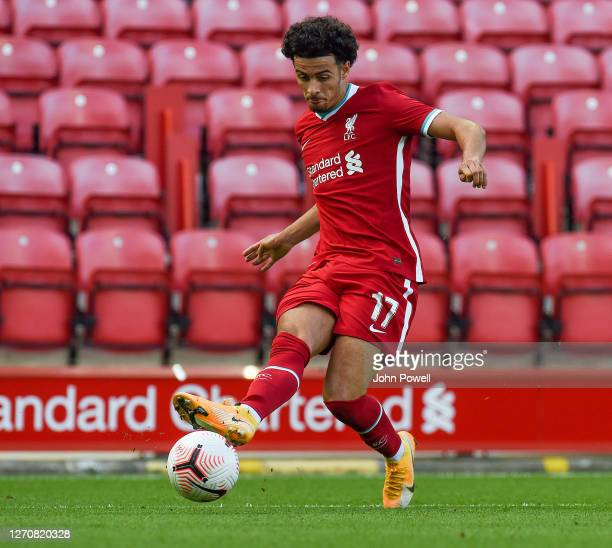 Curtis Jones of Liverpool in action during the game at Anfield on September 05, 2020 in Liverpool, England.