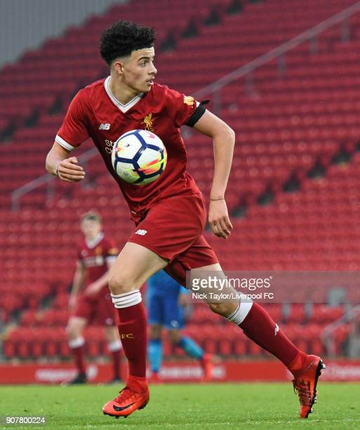 Curtis Jones of Liverpool in action during the Liverpool v Arsenal FA Youth Cup game at Anfield on January 20 2018 in Liverpool England