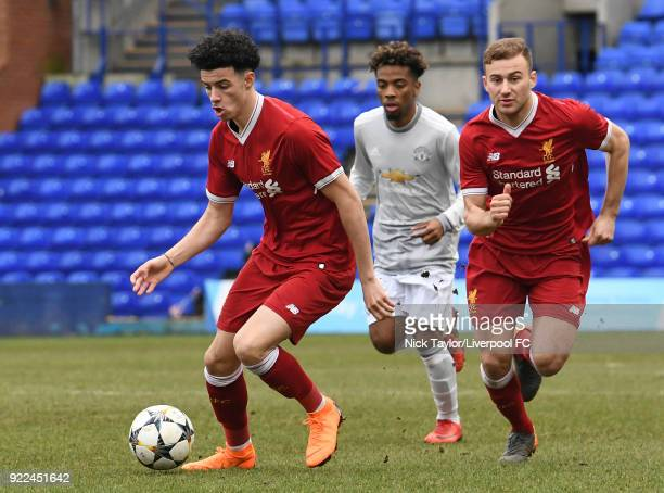 Curtis Jones of Liverpool in action during the Liverpool v Manchester United UEFA Youth League game at Prenton Park on February 21 2018 in Birkenhead...