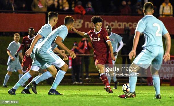 Curtis Jones of Liverpool in action during the Liverpool v Sunderland U18 Premier League game at The Kirkby Academy on November 24 2017 in Kirkby...