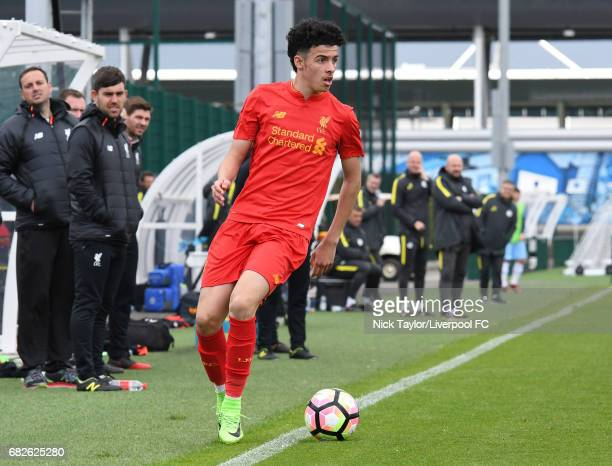 Curtis Jones of Liverpool in action during the Manchester City v Liverpool U18 Premier League game at Etihad Campus on May 13 2017 in Manchester...