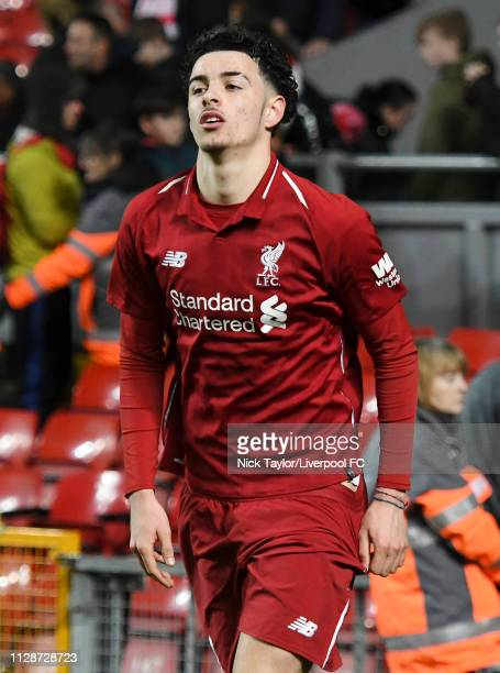 Curtis Jones of Liverpool in action during the PL2 game at Anfield on March 4 2019 in Liverpool England