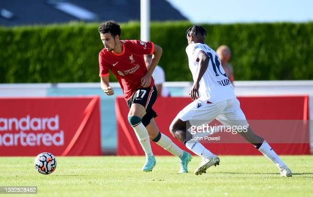 Curtis Jones of Liverpool in action during the Pre Season match between Liverpool and Bologna on August 05, 2021 in Evian-les-Bains, France.
